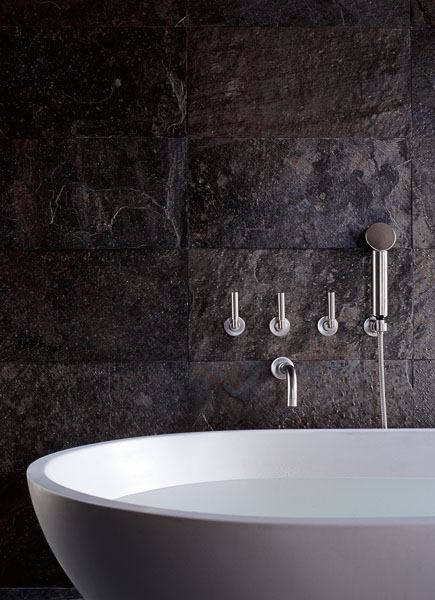 bath, spoon tub, stone, modern, interior photographer, architectural photographer