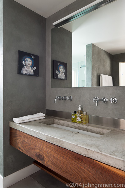 Bath, bathroom, sink, concrete counter, countertop, venetian finish, interior photographer, architectural photographer