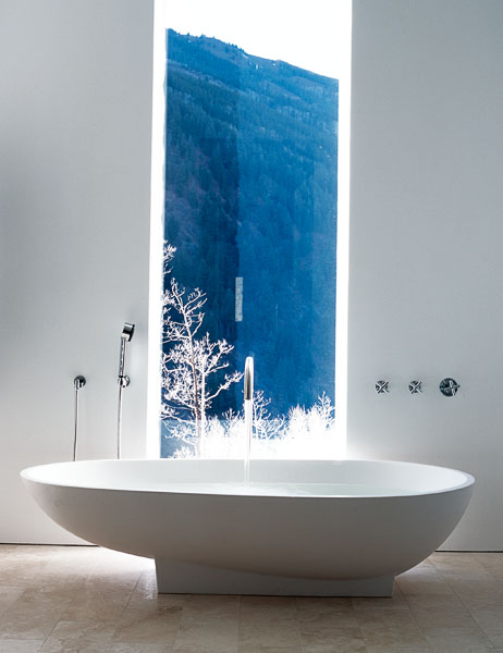 home, residential, bath, bathroom, white tub, floor to ceiling window, Aspen, spoon tub, faucet, shower, spa, resort,
