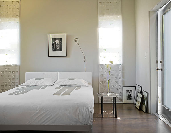 home, residential, bedroom, white, unique window coverings, white bedding, wood floor