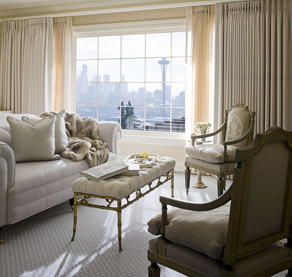 home, residential, bedroom, living room, gray sofa, gray antique chairs, floor length drapes, space needle, traditional.