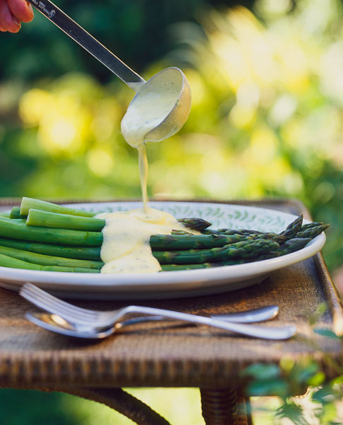 Outdoor, side dish, asparagus with sauce