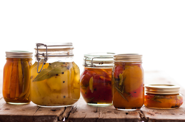 Food; Fruit; Pickling; Vegetables; beans; canning; carrots; jar; lactic acid; lemons; peppers; pickle; preserve; salt; vinegar