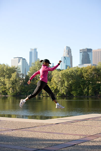 woman, exercise, health, jumping, running, lake, park
