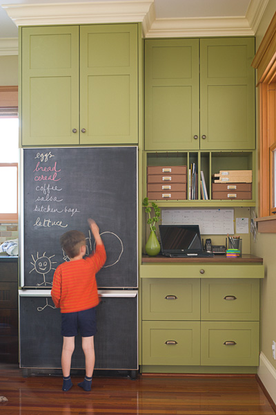 kitchen, green, kid, boy, child, chalkboard, refrigerator, chalk
