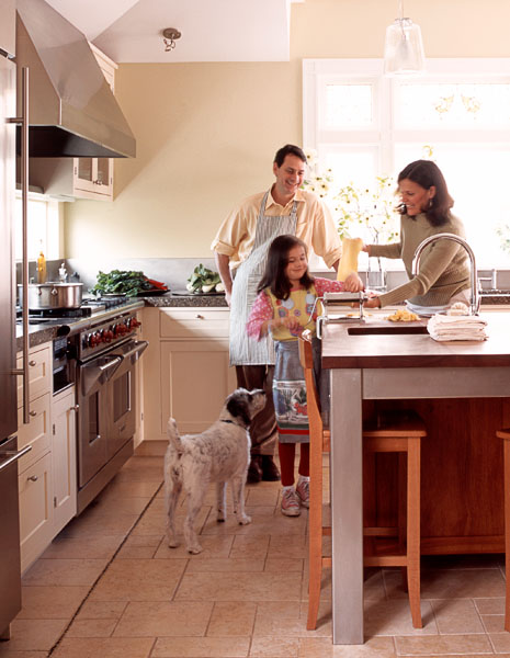 kitchen, family, man, woman, couple, child, kid, girl, dog, residential, cooking