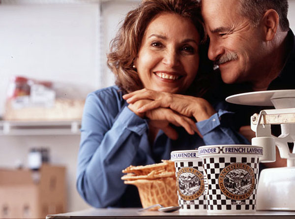 Man, Woman, couple, ice cream, waffle cone, scale, kitchen, commercial