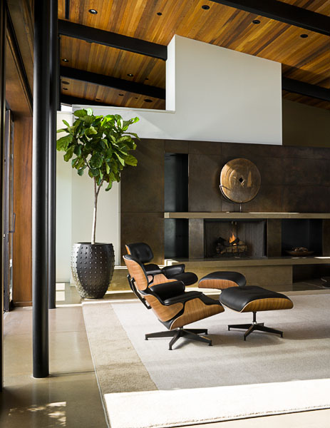 home, residential, contemporary, fireplace, Eames chairs