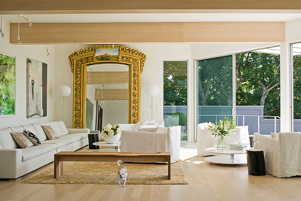 home, residential, Minotti 18 foot sofa, lacquered log tables, Arcos Code bench, 19th century Italian mirror, dog, chihuahua, white, architectural photographer, interior photographer, seattle
