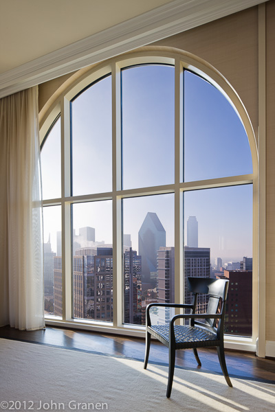 arched window, skyline, view, dallas, tx, architectural photographer, interior photographer