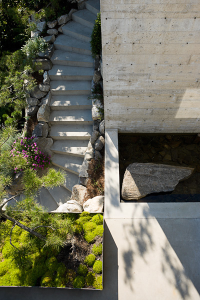 residential,View from above, concrete staircase, garden, pond, deck