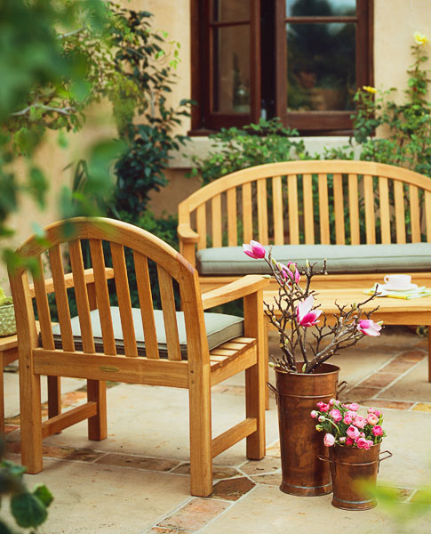 residential, garden, patio, furniture, copper pots