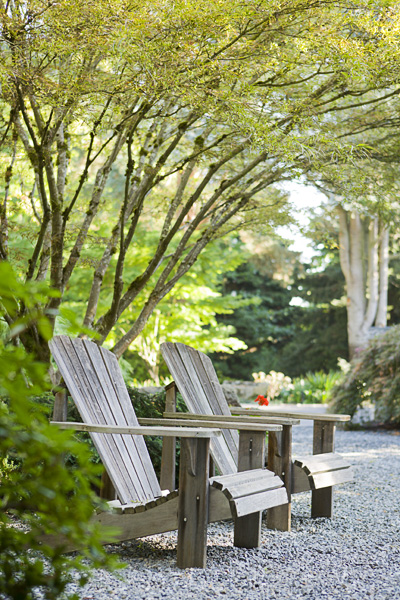 Commercial, walkway, adirondack chairs, path, pebbles, trees