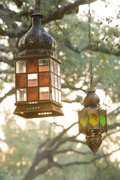 residential, hanging lanterns, trees