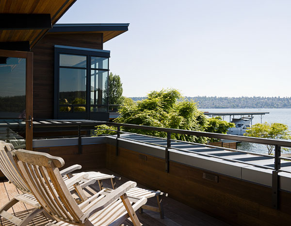 deck, water view, residential, wood chairs